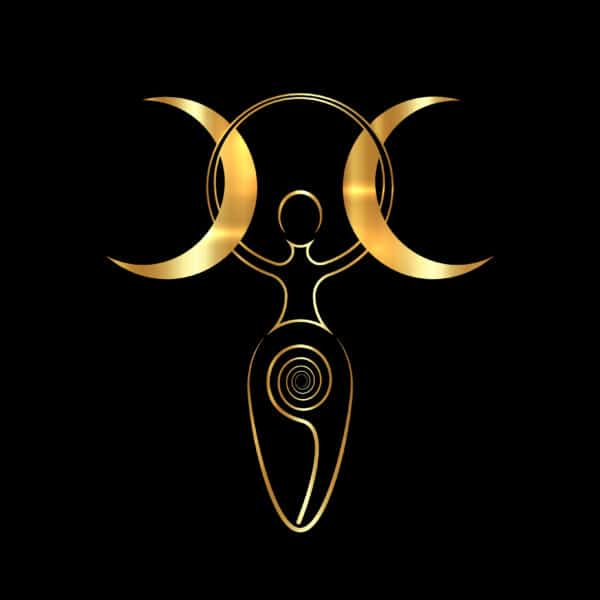 gold spiral goddess of fertility and triple moon Wiccan. The spiral cycle of life, death and rebirth. Golden Woman Wicca mother earth symbol of sexual procreation, vector isolated on black background